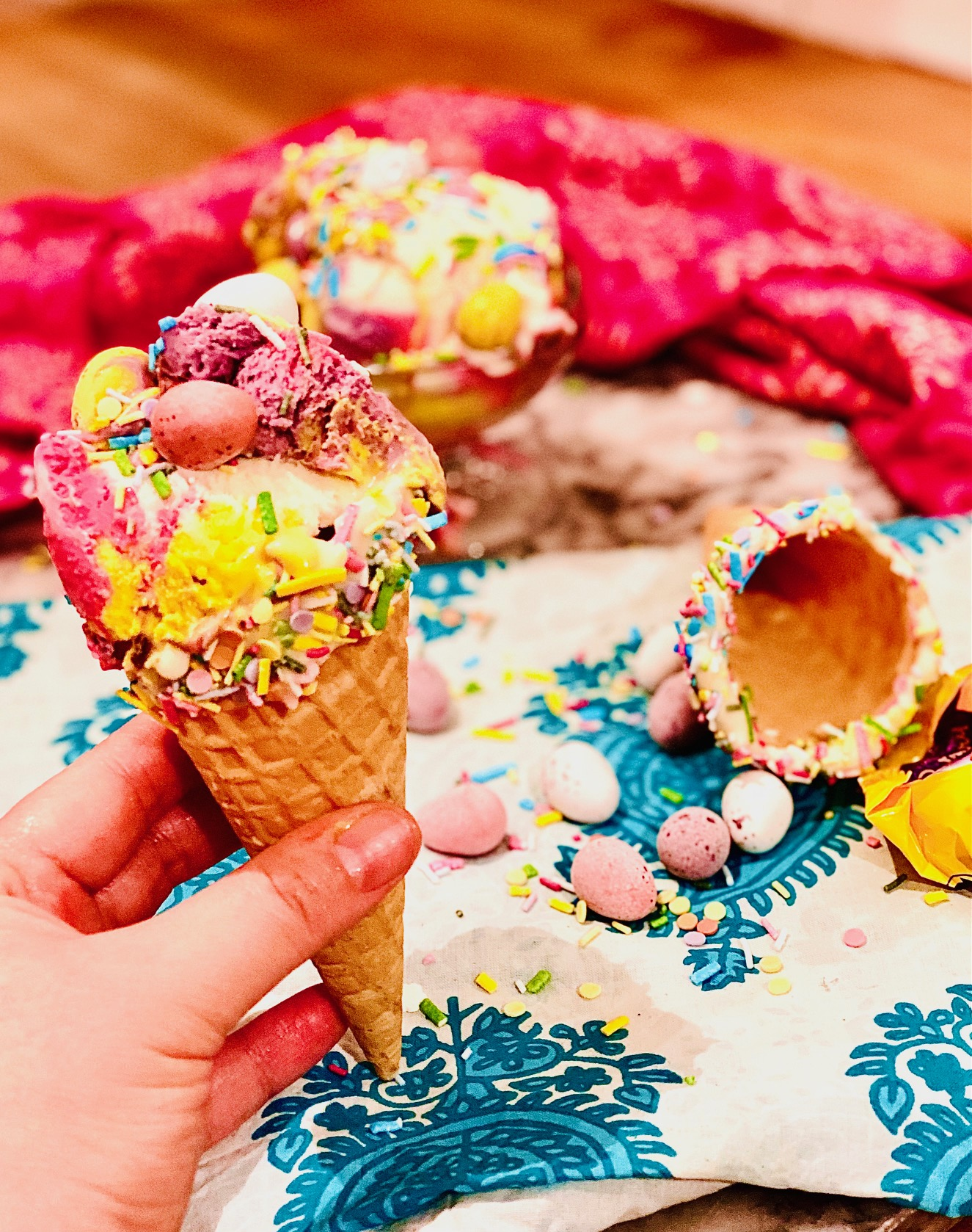 Mini egg filled and multicoloured no churn ice-cream in a cone