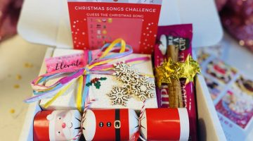 Christmas gift box - Emma Bakes Elevate This, filled with handmade Christmas pudding truffles, games, decorations, hot chocolate and Christmas crackers
